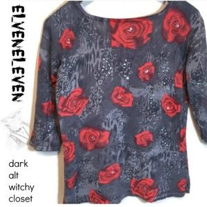 Joseph A. Blouse gray red rose sequins 87% silk S